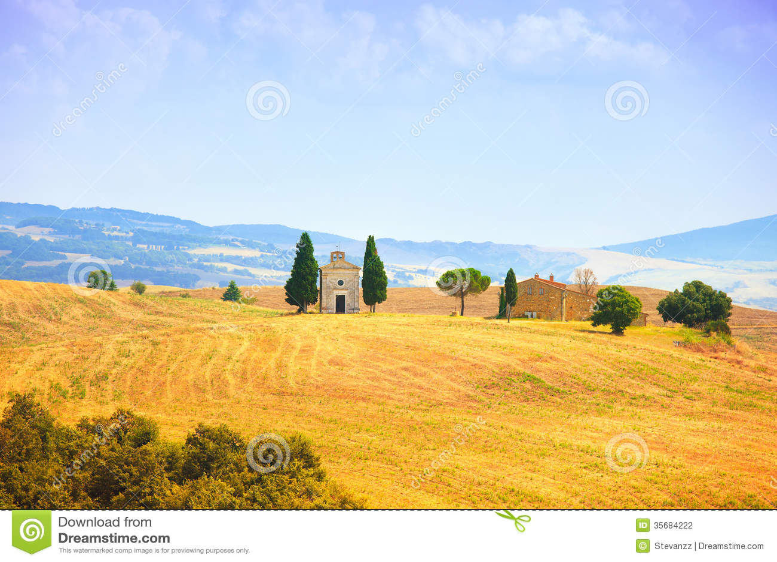 Paesaggio Della Toscana Cappella Di Vitaleta Poca Chiesa