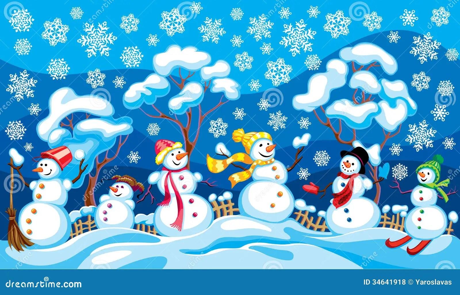 Paesaggio Di Inverno Con I Pupazzi Di Neve Illustrazione Vettoriale  Illustrazione di colourful