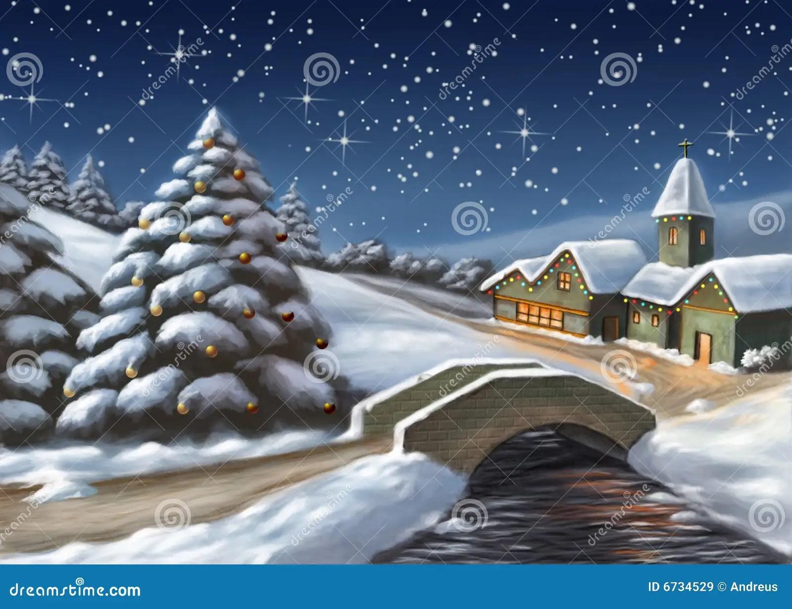 Paesaggio di natale illustrazione di stock Illustrazione