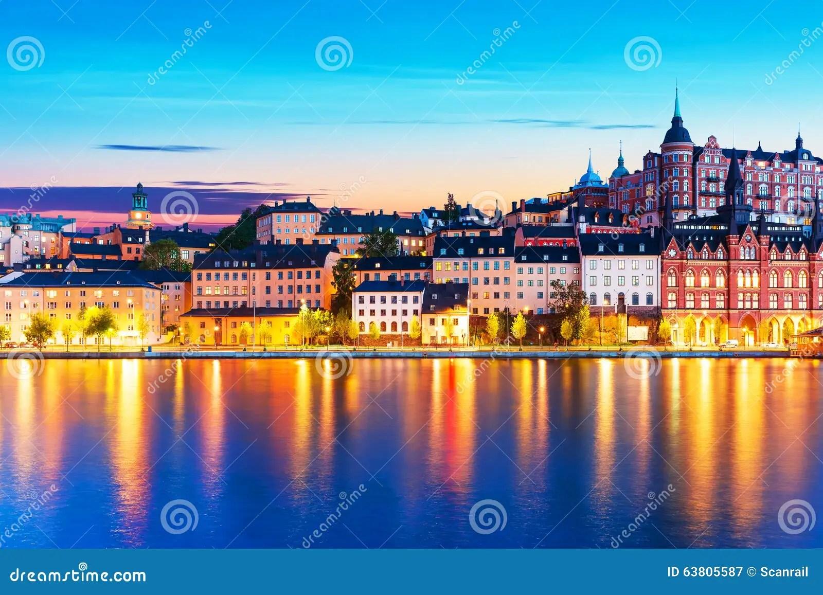 Paesaggio Di Sera Di Citt Vecchia A Stoccolma Svezia