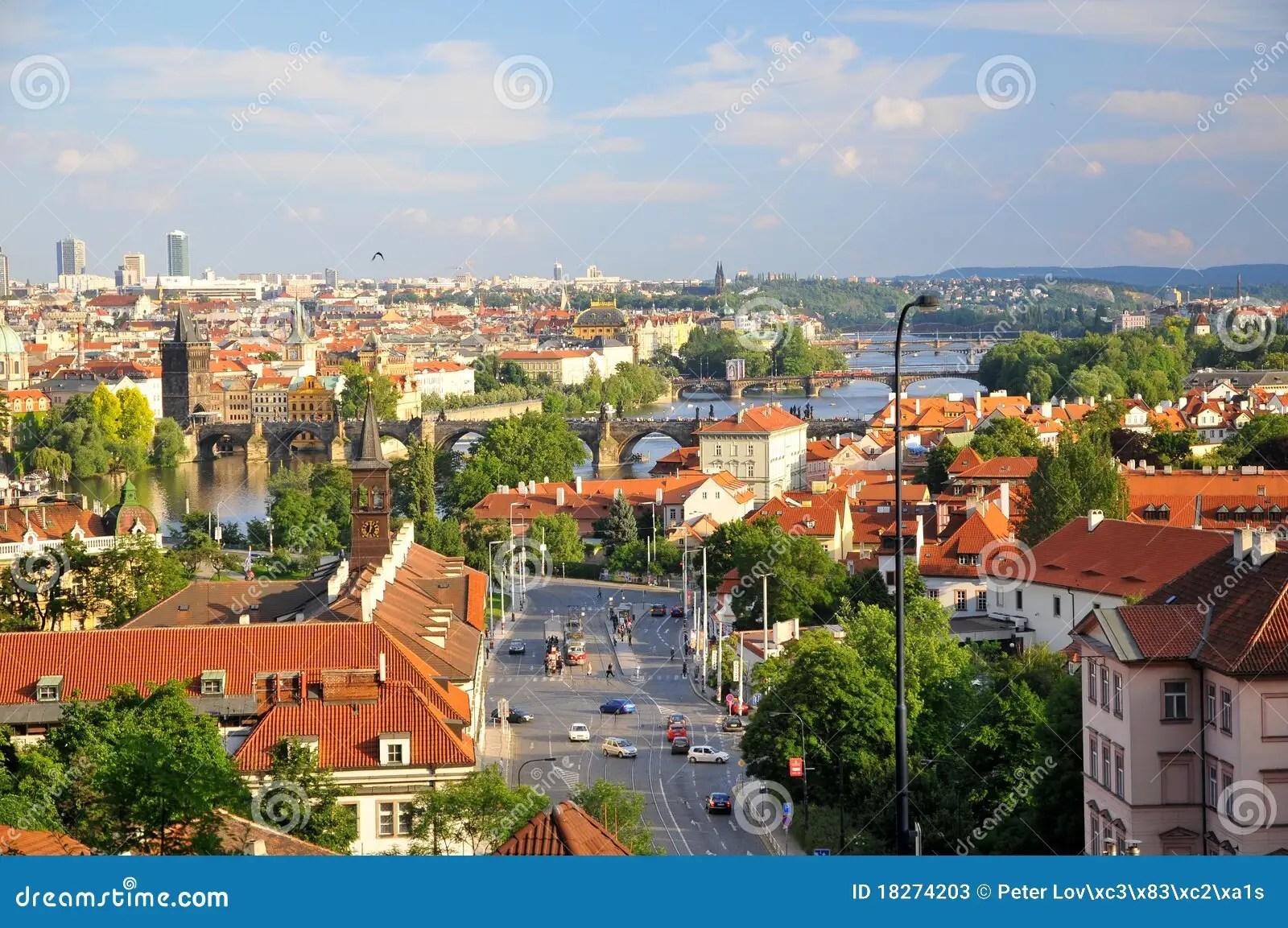 Paesaggio Di Vecchia Citt Di Praga Fotografia Stock
