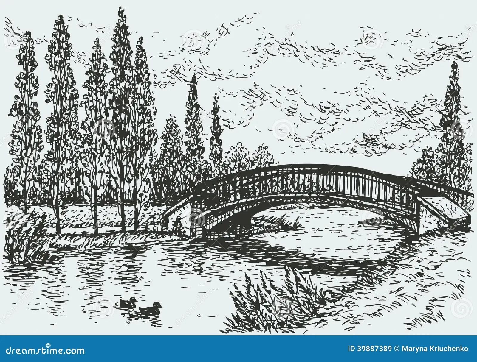 Paesaggio Di Vettore Ponte Sopra Il Fiume E Pioppi Lungo La Strada Illustrazione Vettoriale