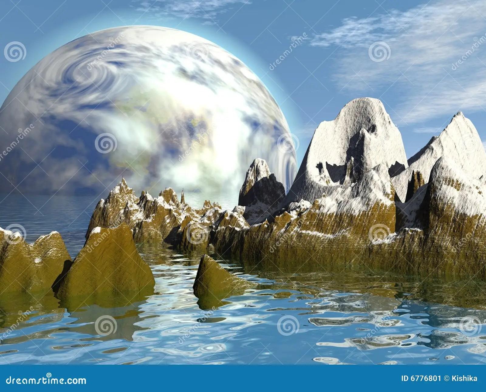 Paesaggio fantastico illustrazione di stock Illustrazione di luna  6776801