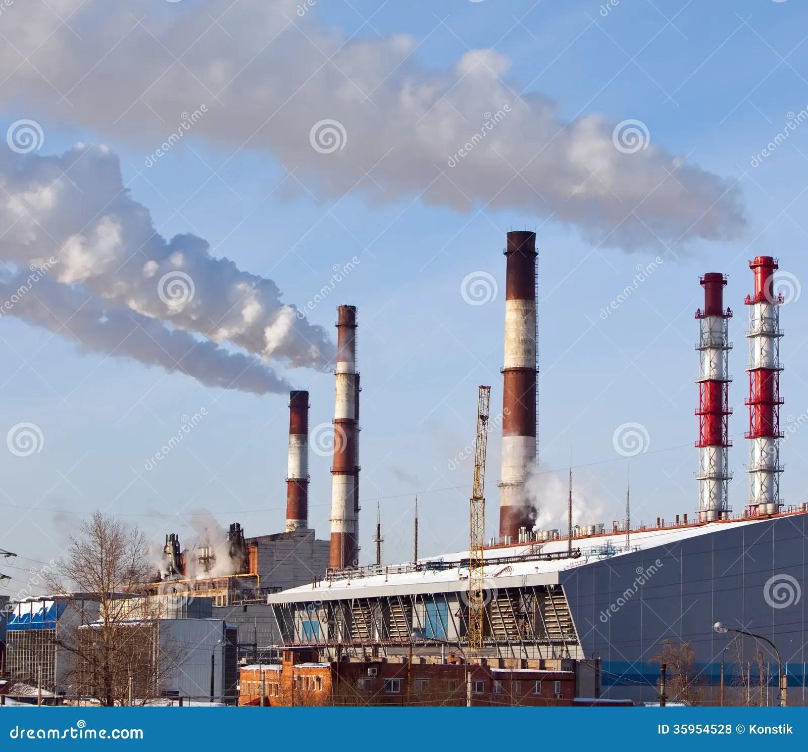 Paesaggio Industriale Della Citt Con I Tubi Di Fumo E Le
