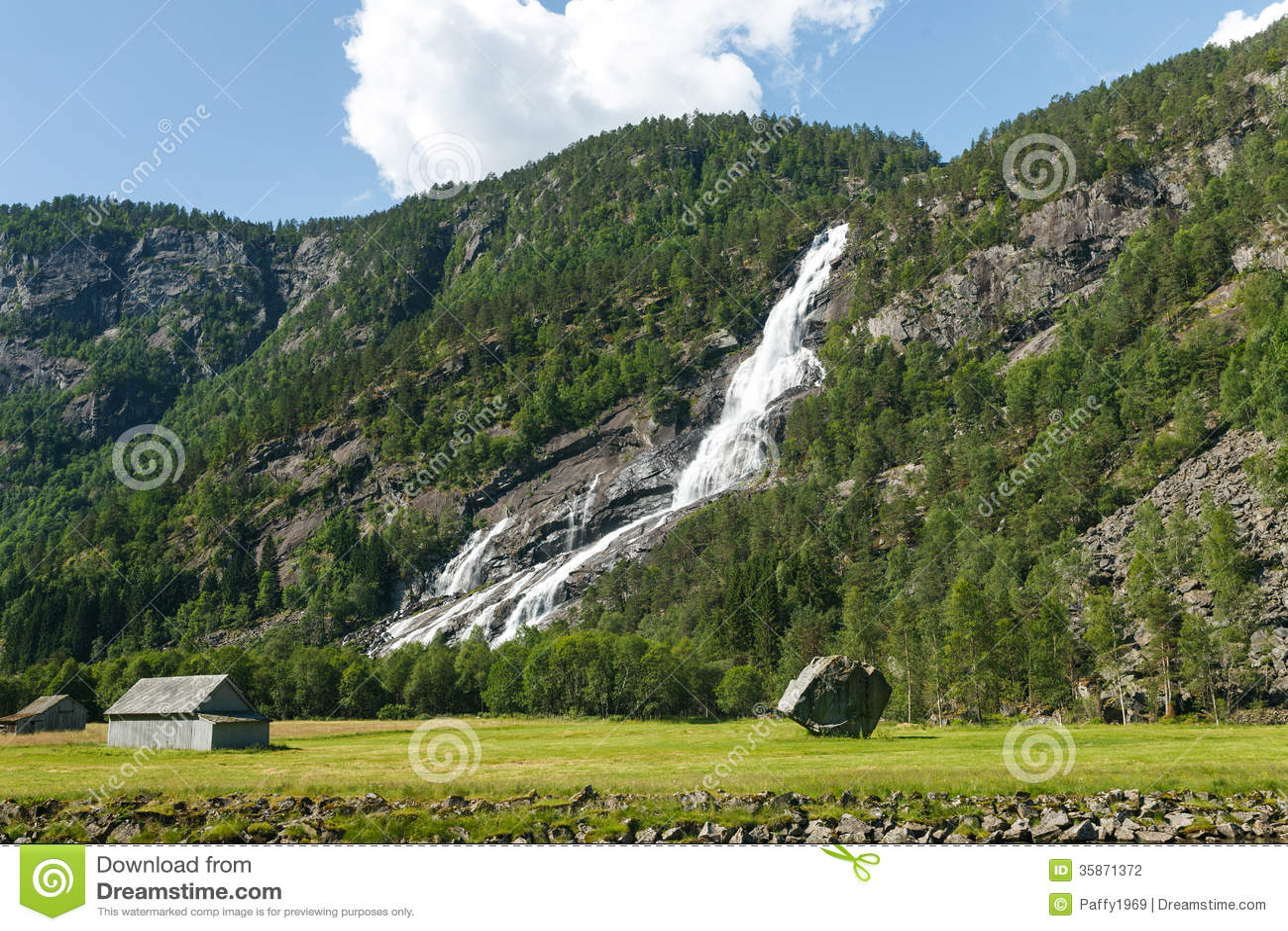 Paesaggio Norvegese Con La Montagna E La Cascata Fotografia Stock  Immagine di rurale campagna
