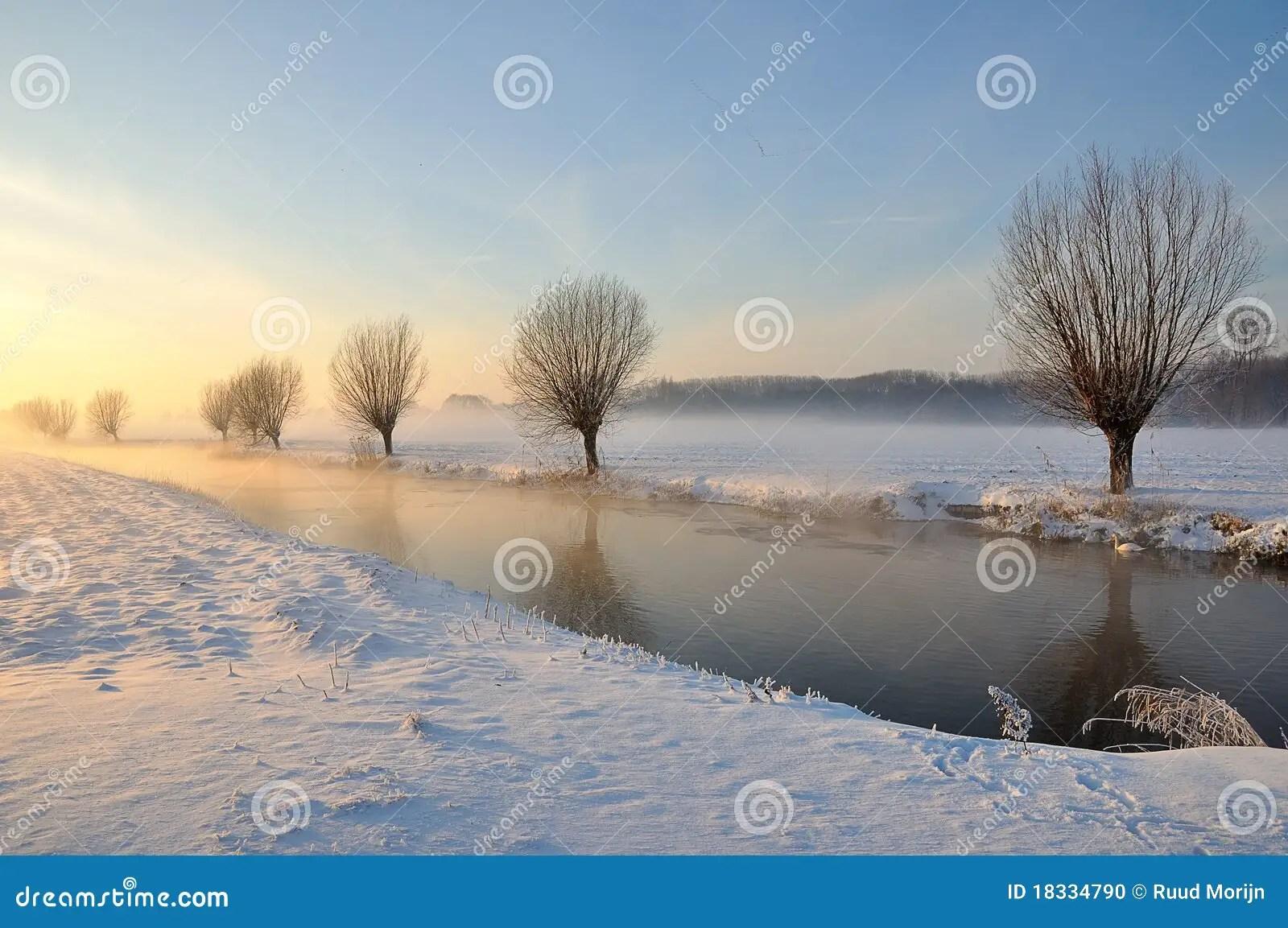 Paesaggio Olandese Di Inverno Con Neve Ed Il Sole Basso