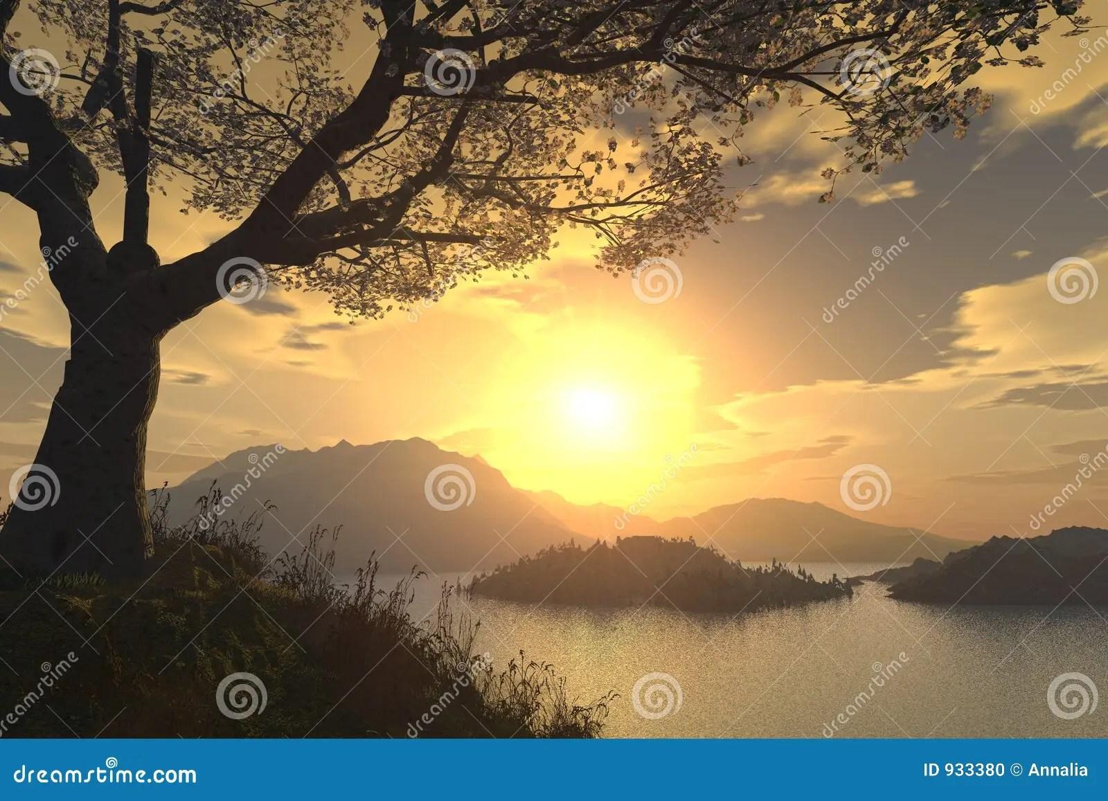 Paesaggio romantico illustrazione di stock Illustrazione