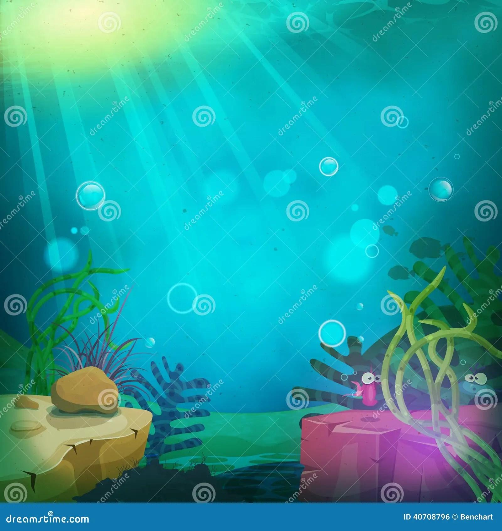Paesaggio Sottomarino Divertente Delloceano Illustrazione