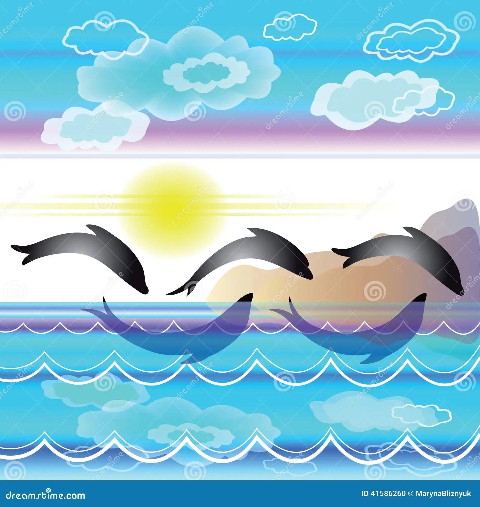 Paesaggio Stilizzato Del Mare Con I Delfini Illustrazione