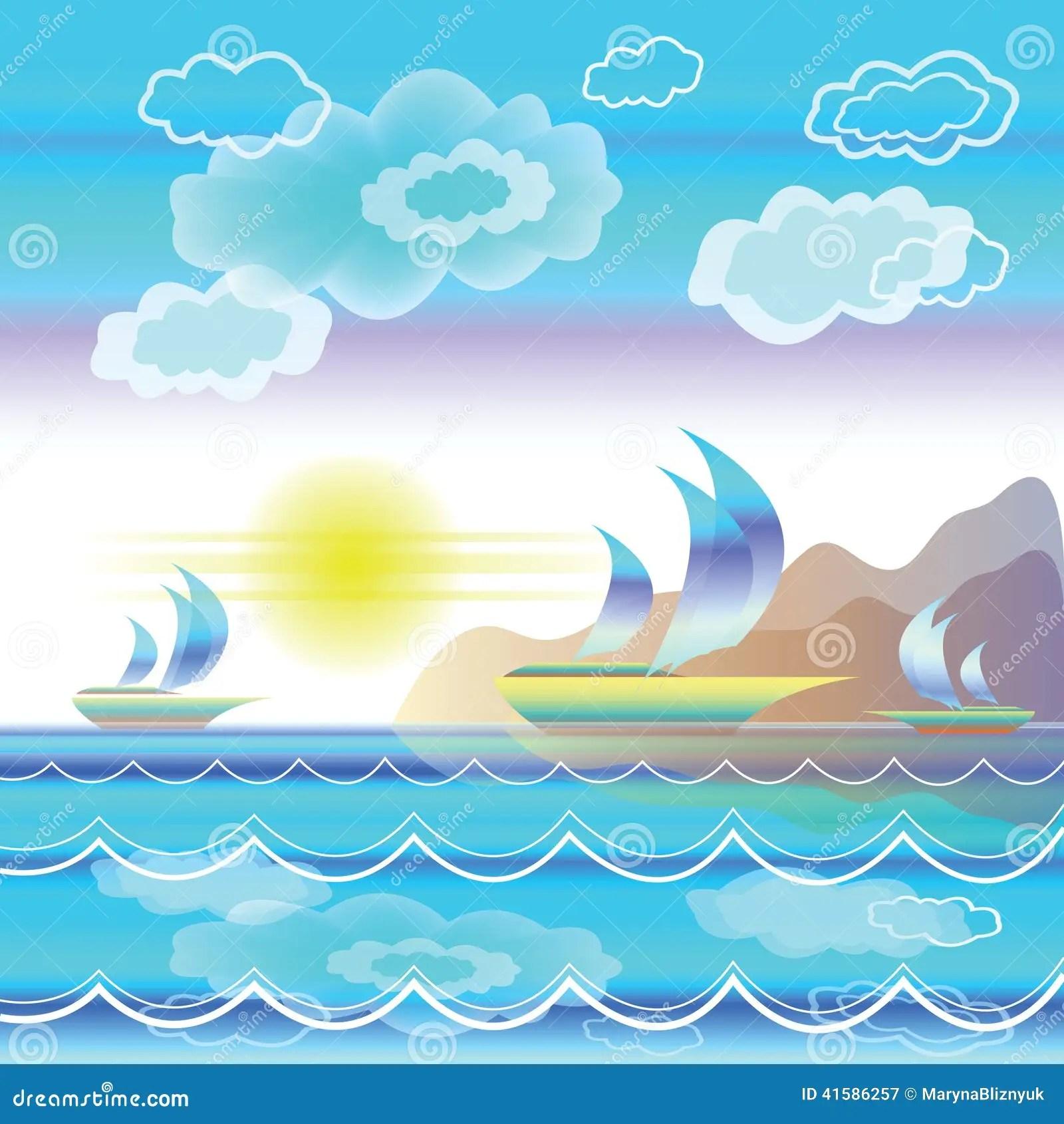 Paesaggio Stilizzato Del Mare Con Le Barche A Vela