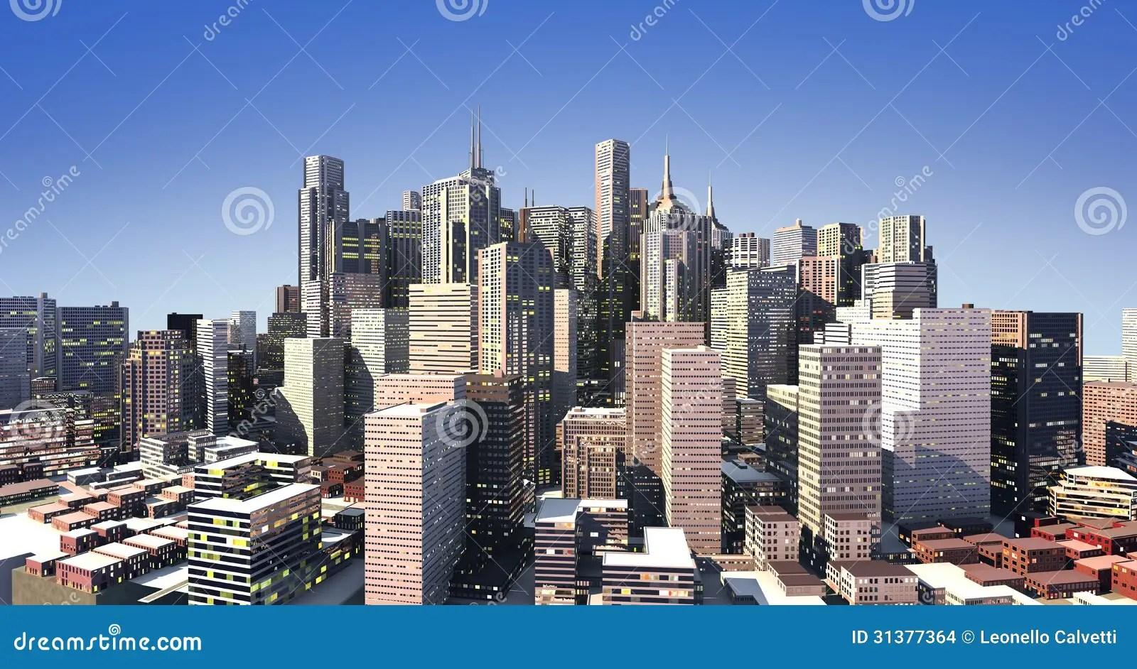Paesaggio Urbano Moderno Nella Luce Del Giorno Con Le Luci Artificiali Illustrazione di Stock