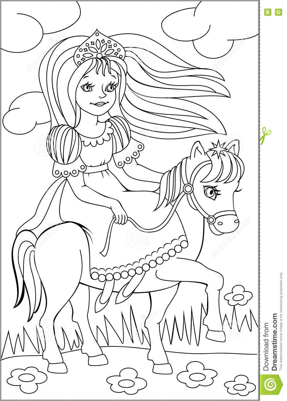 Page With Black And White Drawing Of Riding Princess For