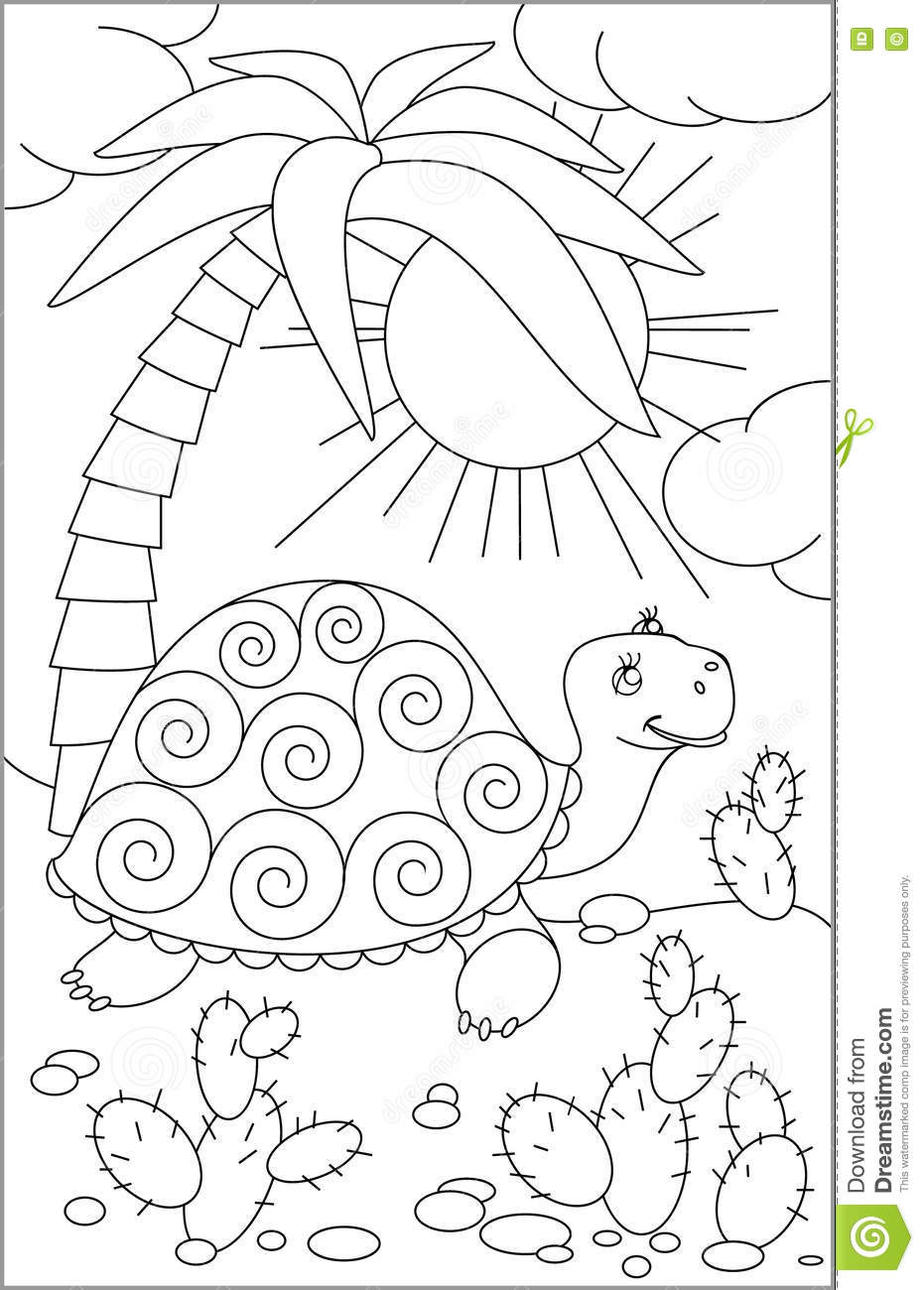 Page With Black And White Drawing Of Turtle For Coloring