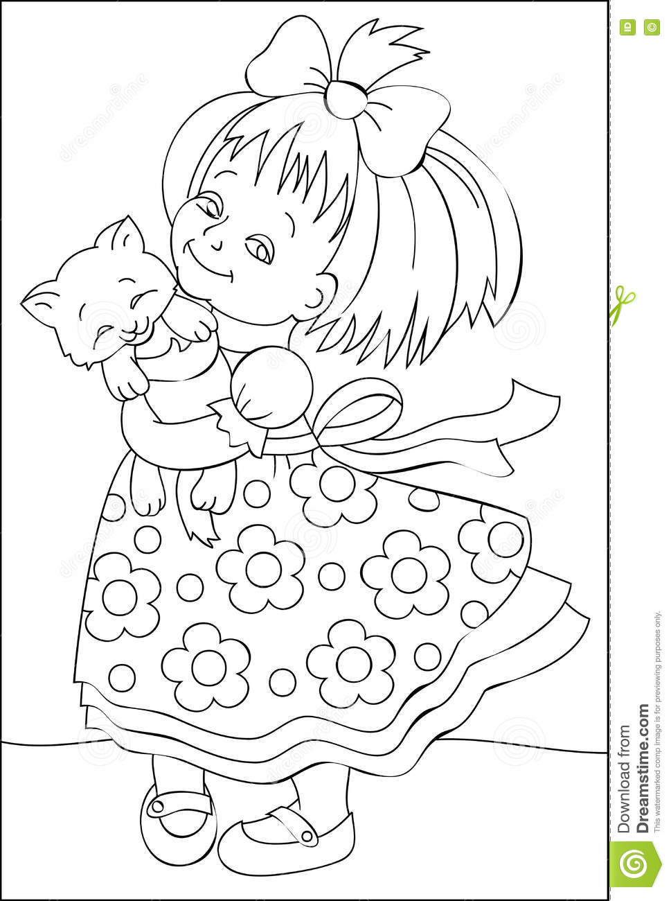 Page With Black And White Illustration Of Little Girl For