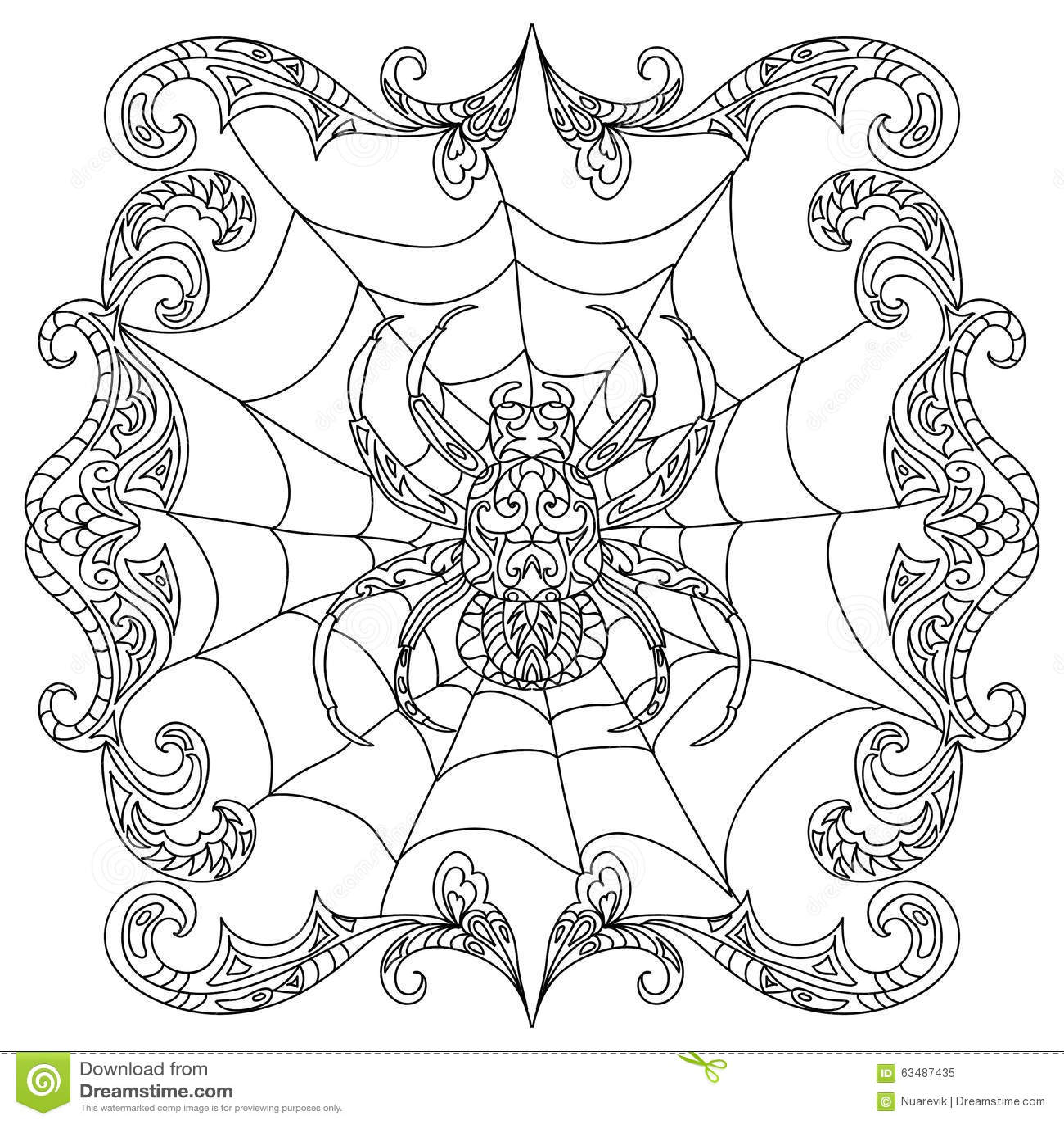 Page De Coloration De Zentangle D Araignee Illustration