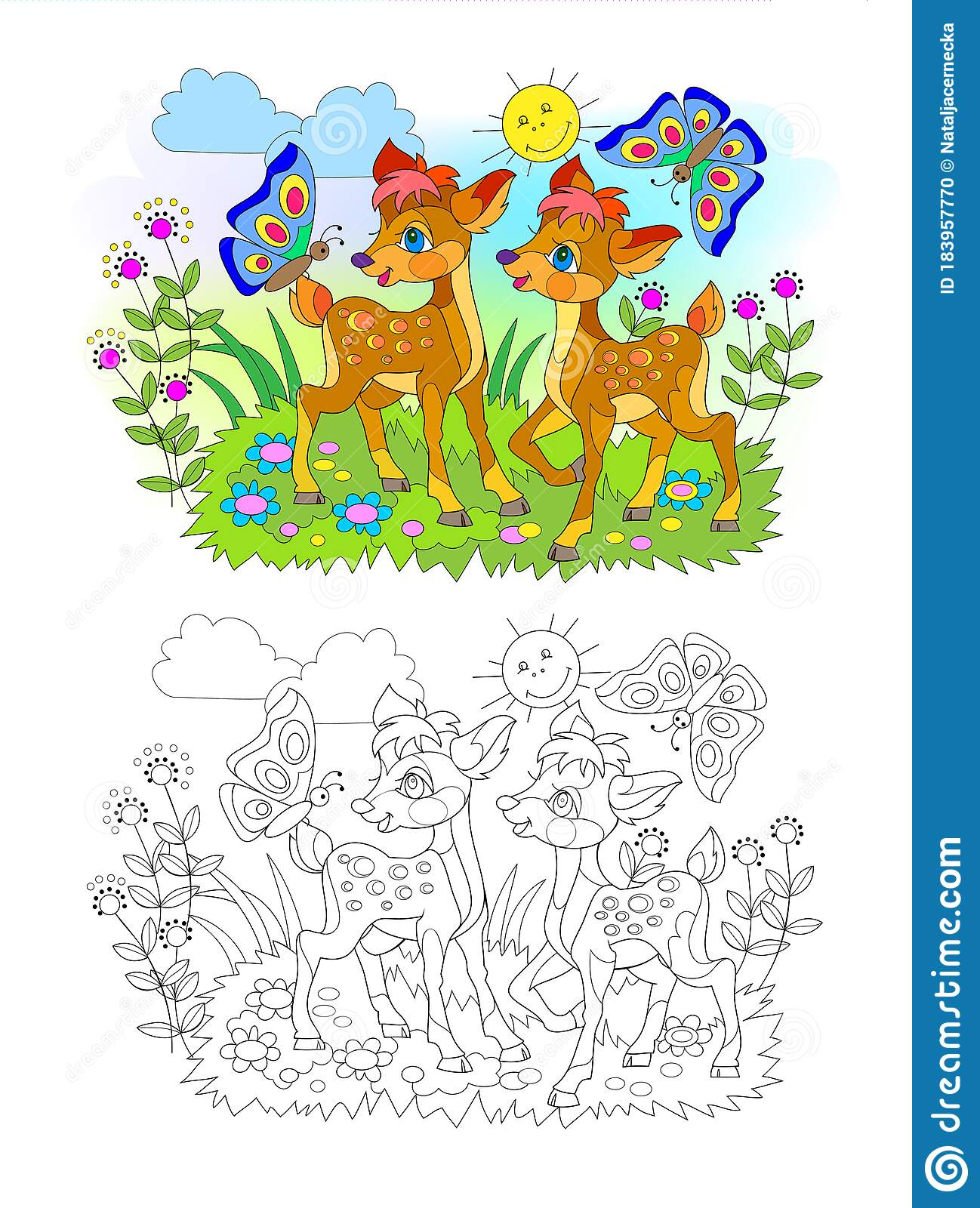Page For Kids Coloring Book Illustration Of Two Cute