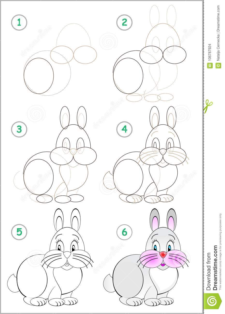 Drawing Tutorial. How To Draw A Little Rabbit Vector