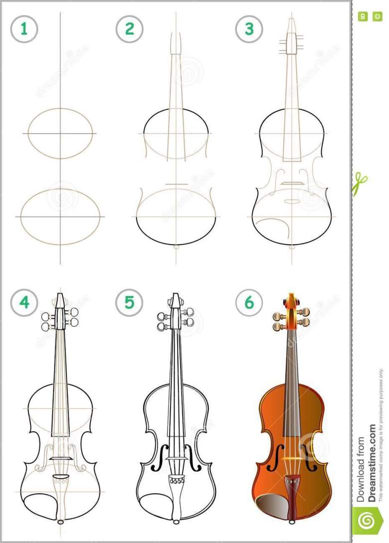 page shows how to learn step by step to draw a violin. stock vector