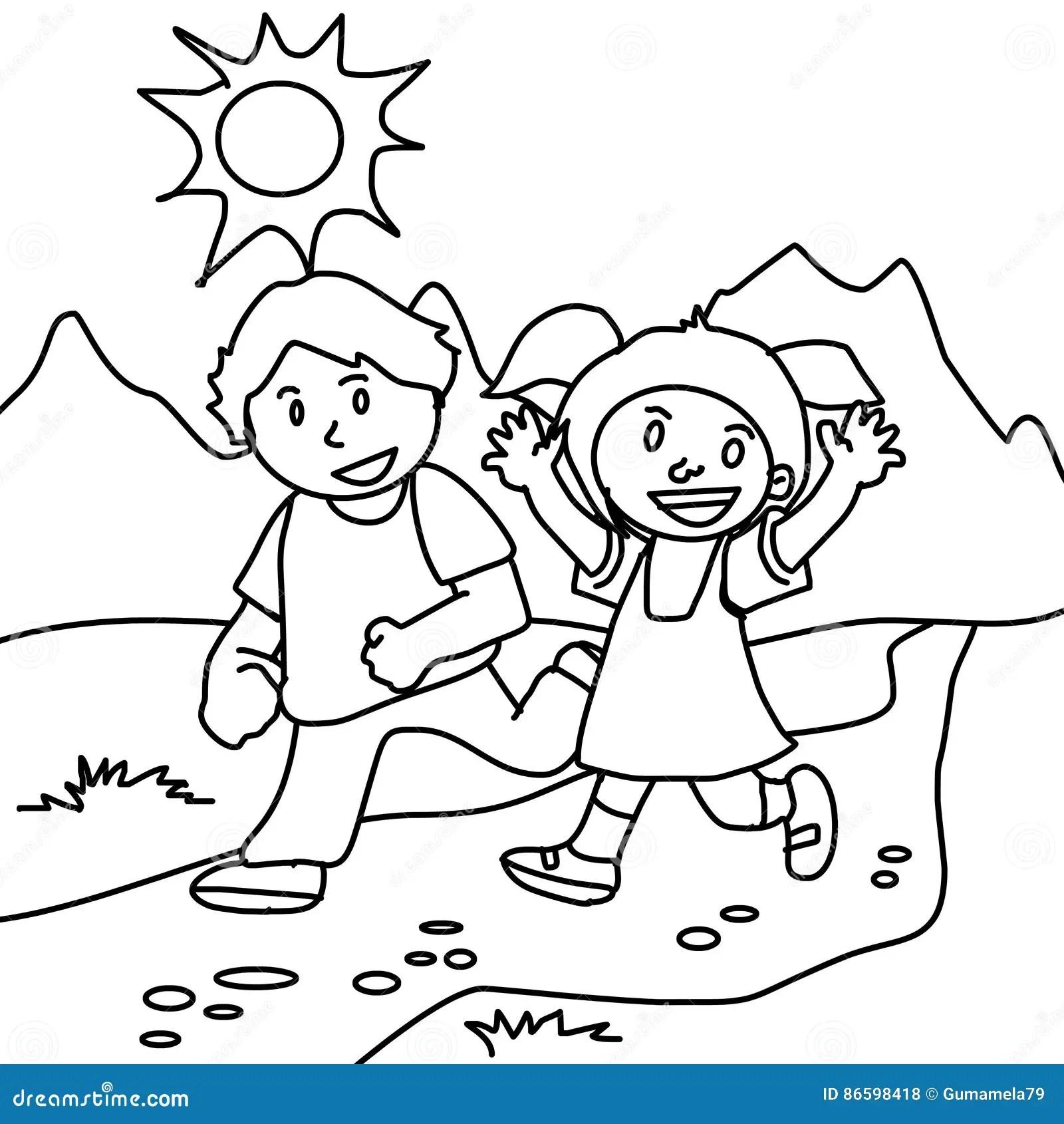 Pagina Di Camminata Di Coloritura Della Ragazza E Del Ragazzo Illustrazione Di Stock