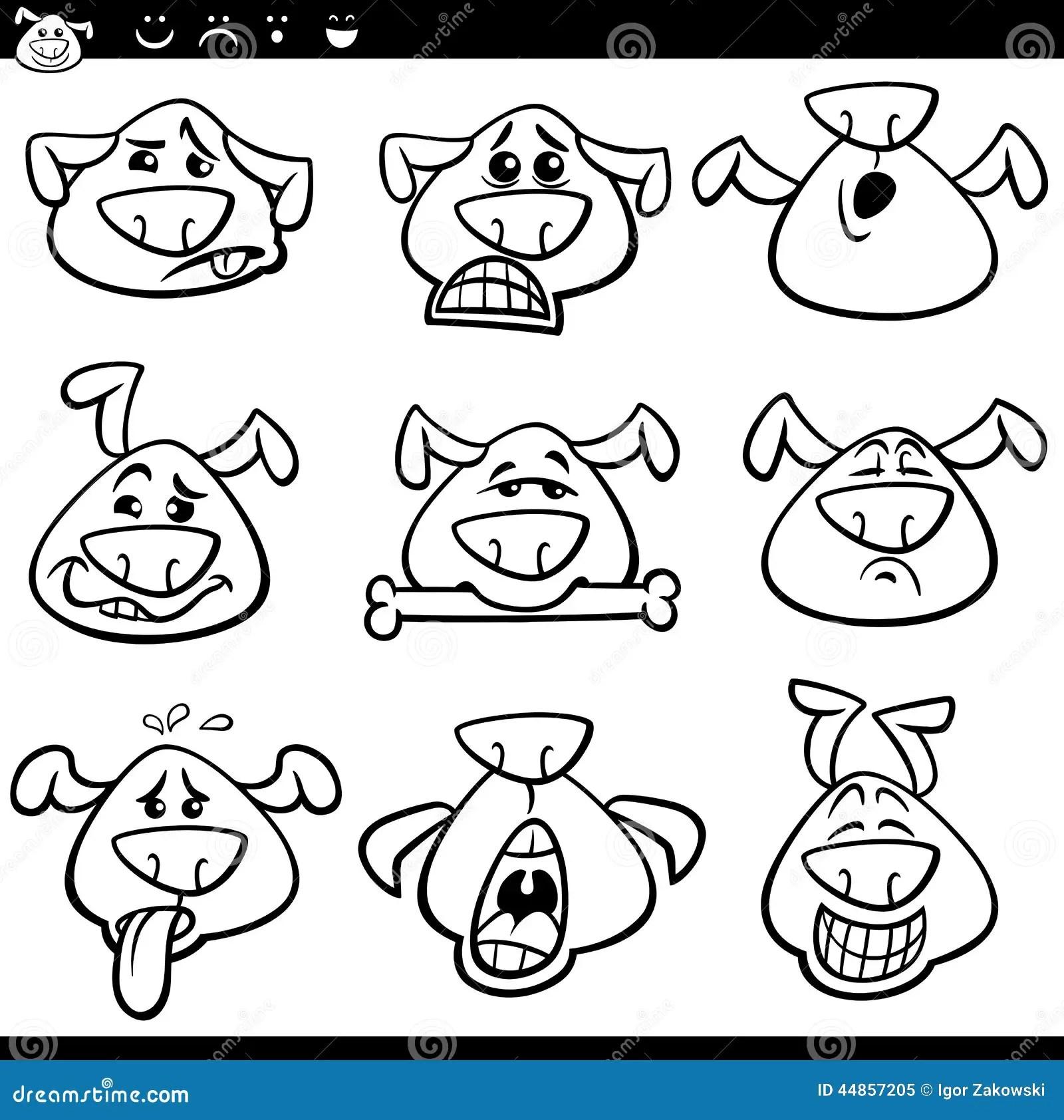 Pagina Di Coloritura Del Fumetto Degli Emoticon Del Cane Illustrazione Vettoriale