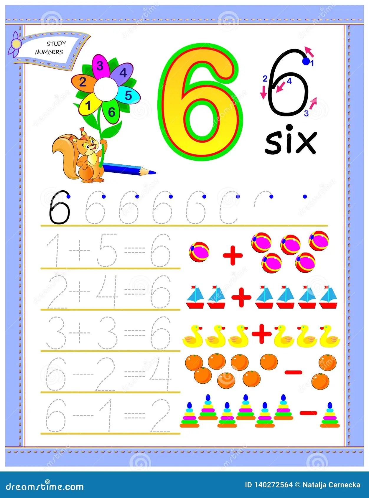 Pagina Educativa Per I Bambini Con Il Numero 6 Risolva Gli