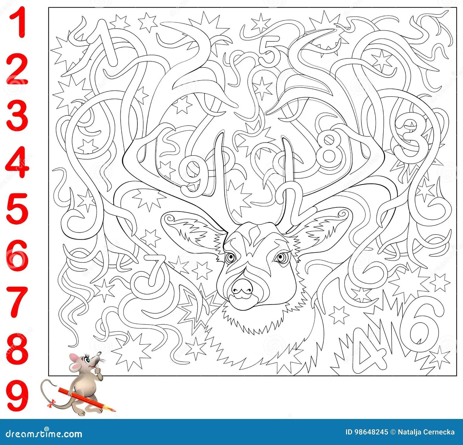 Pagina Educativa Per I Bambini Piccoli Trovi I Numeri Nascosti Nell Immagine E Dipingali Gioco