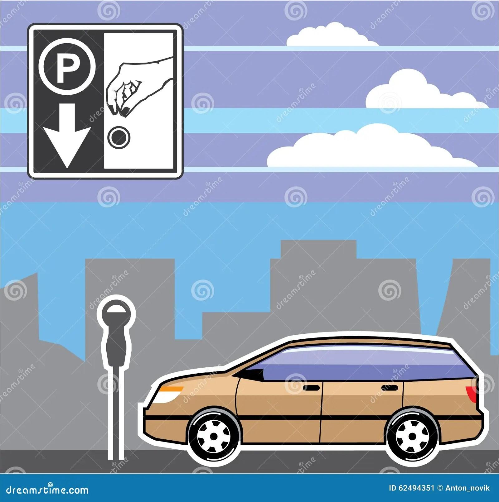 vehicle diagram clip art 2016 dodge dart sxt wiring paid parking meter car vector stock illustration