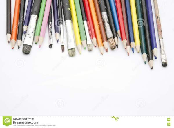 Paint Brushes And Color Pencils Stock - 16732450