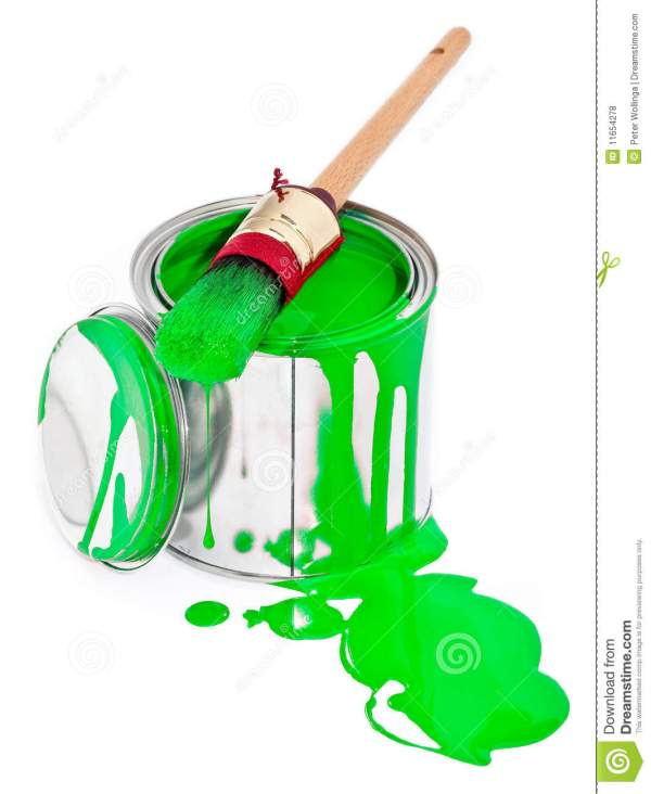 Paint With Dripping Brush Isolated White Stock - Of 11654278