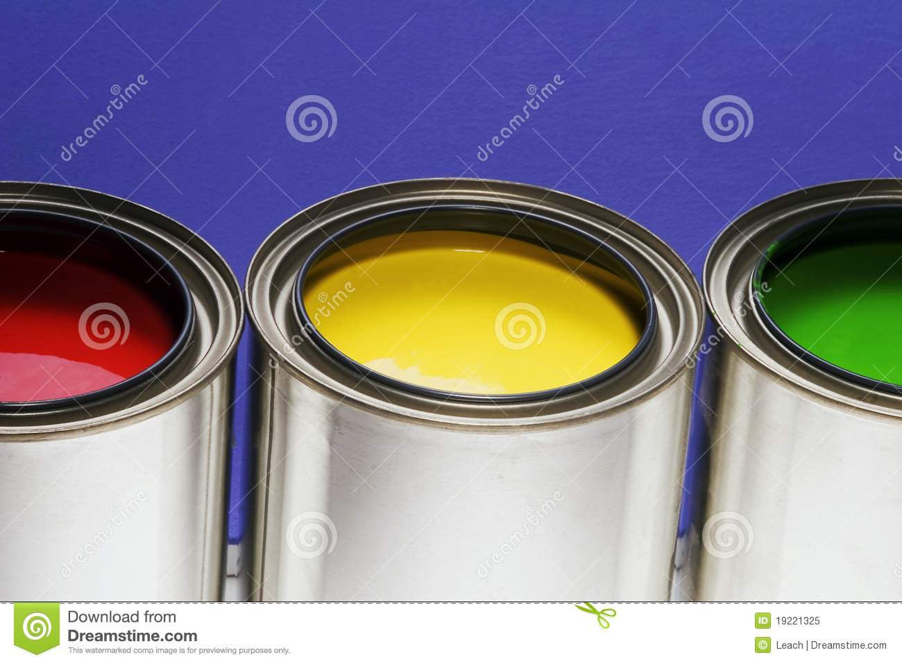 Paint Cans Red Yellow Green Royalty Free Stock Photo