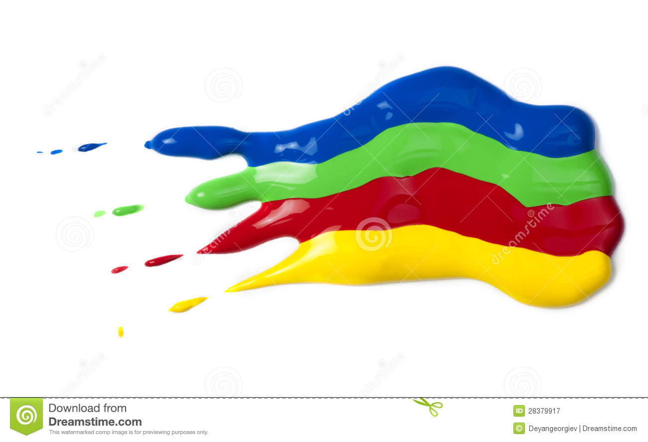 Paint Coated On Paper Red Green Blue And Yellow Colors