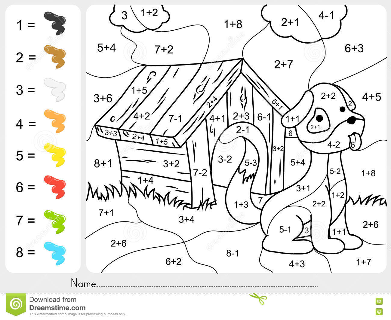 Printable Color By Number Addition And Subtraction