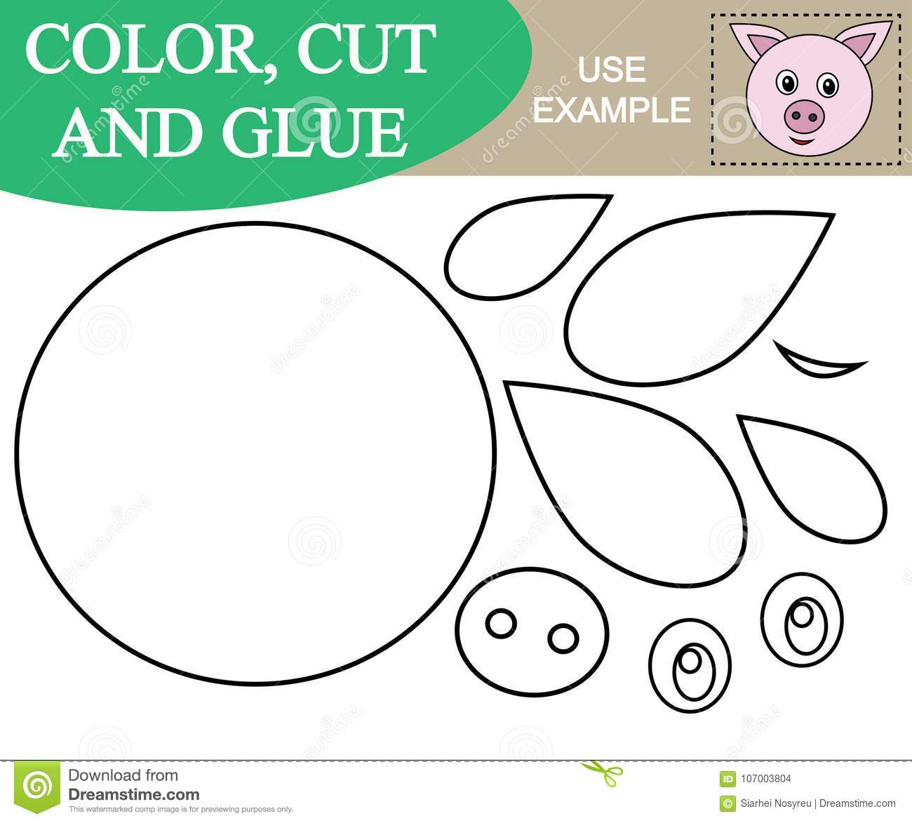 Paint Cut And Paste The Image Of Face Of Pig Game For