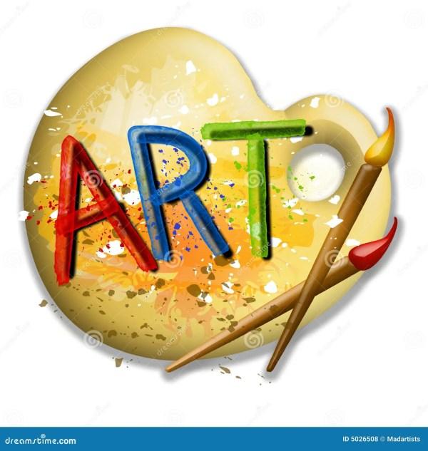 Paintbrushes And Palette Art Logo Stock Illustration - 5026508