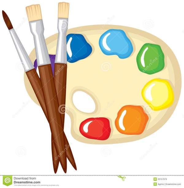 Paintbrushes And Palette Of Paints Stock Vector