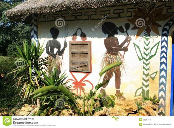 Painted African House Stock Of Fighter