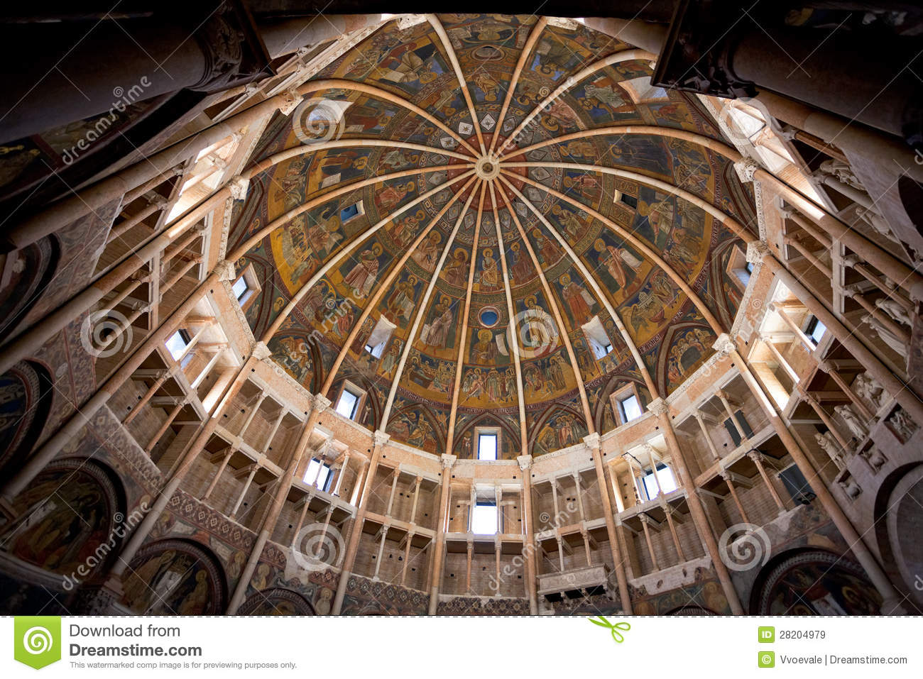 Painted Dome Ceiling Of The Baptistery Of Parma Royalty