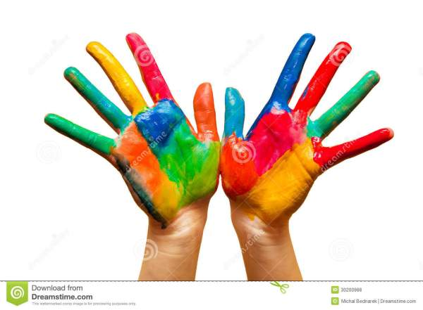 Painted Hands Colorful Fun Isolated Stock Photo Image