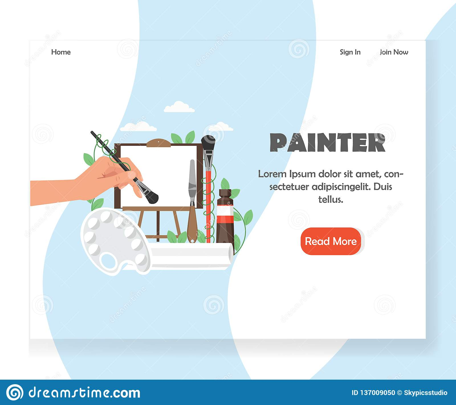 hight resolution of painter landing page template vector flat style design concept for artist website and mobile site development human hand holding paintbrush palette