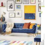 Painting And Posters Above Navy Blue Couch In Modern Living Room Stock Image Image Of Colorful Home 120975609