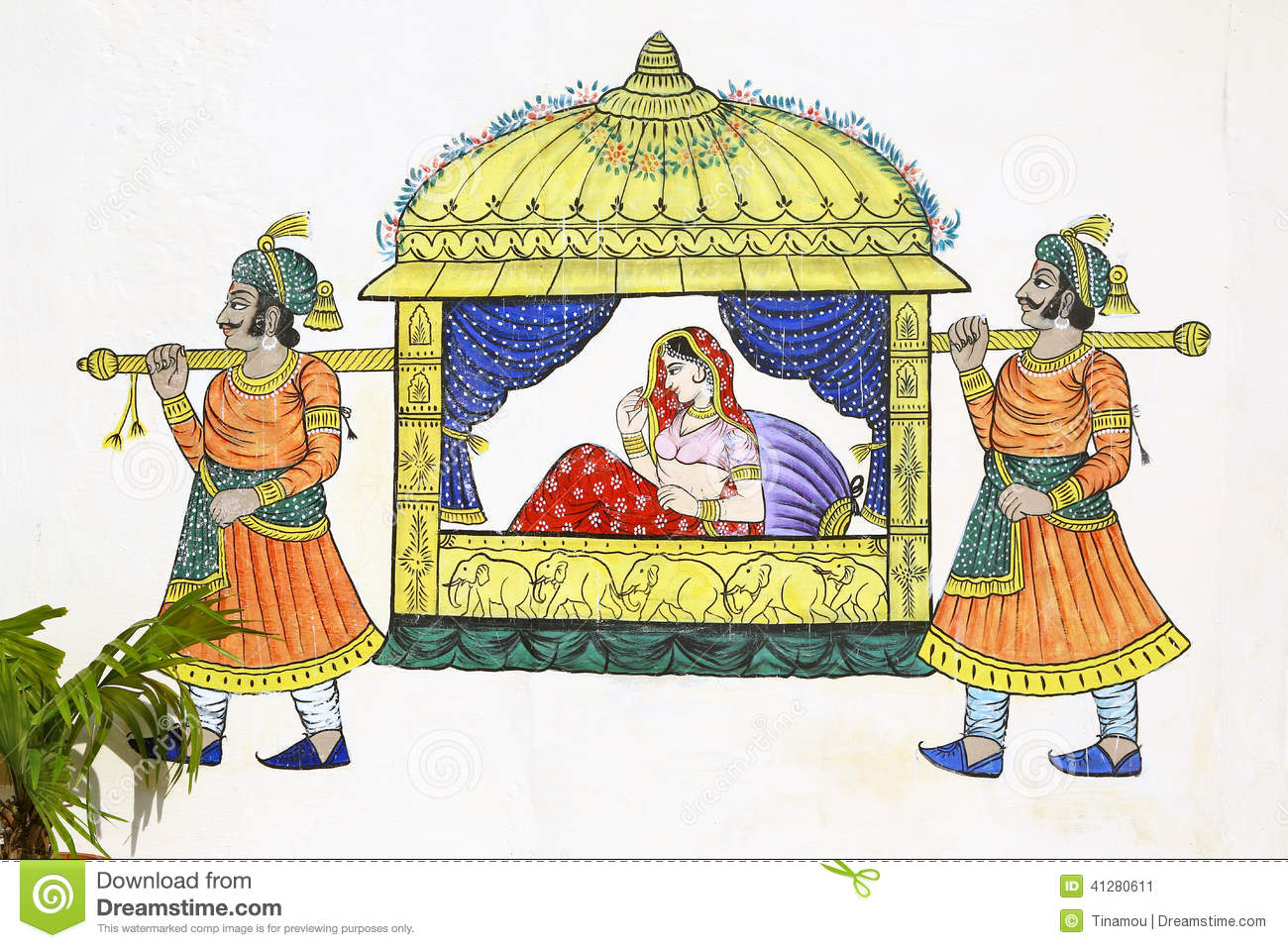 chinese wedding sedan chair swivel outdoor painting of on udaipur wall stock photo