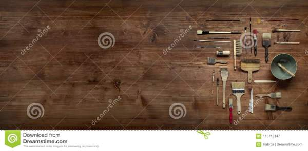 Painting Still Life With Lot Of Type Brushes Stock Image