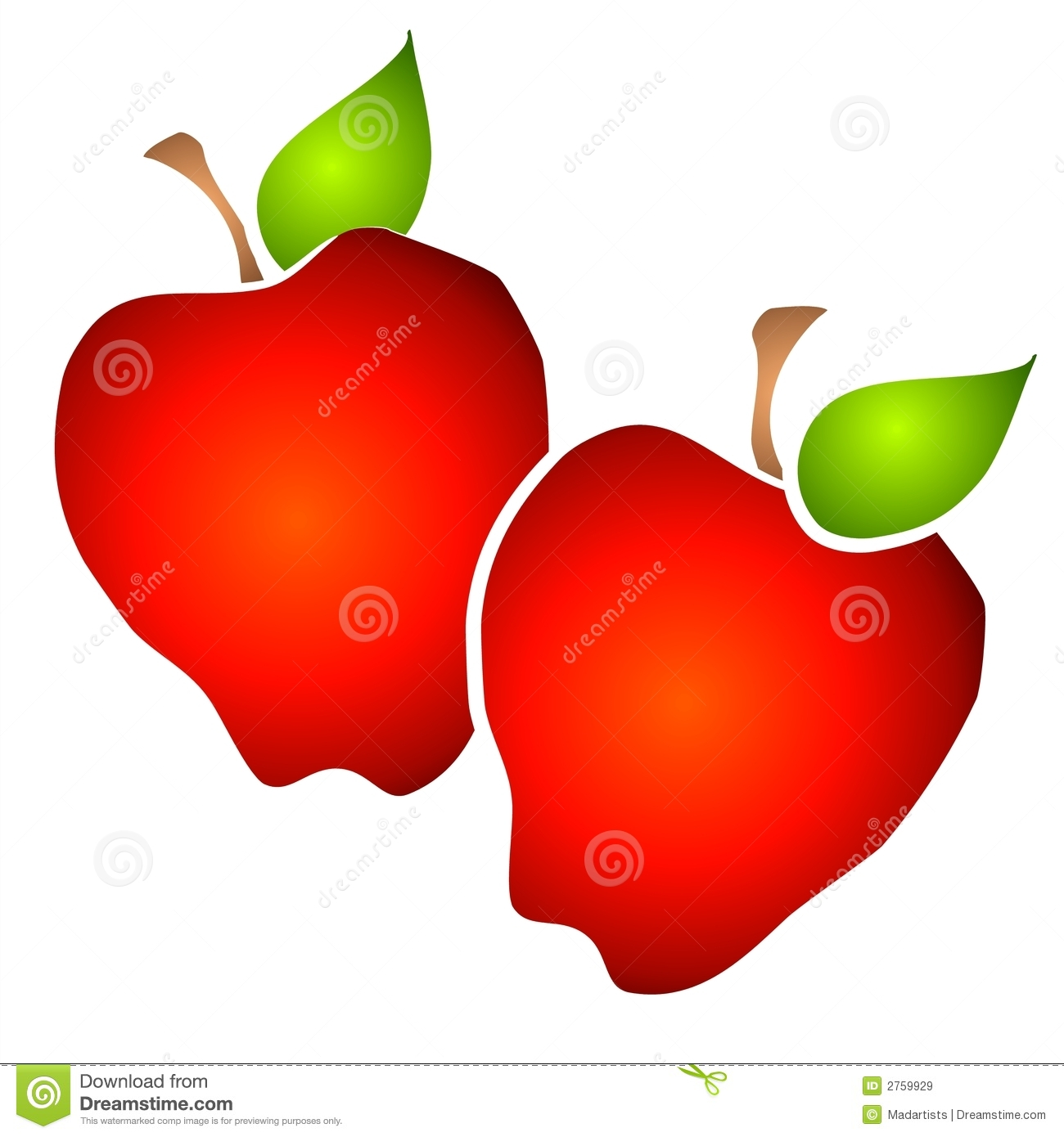hight resolution of 2 red apples side by side with rich gradient colors on a white background