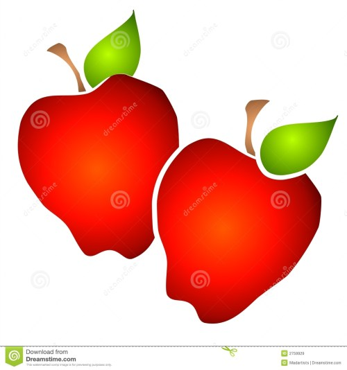 small resolution of 2 red apples side by side with rich gradient colors on a white background