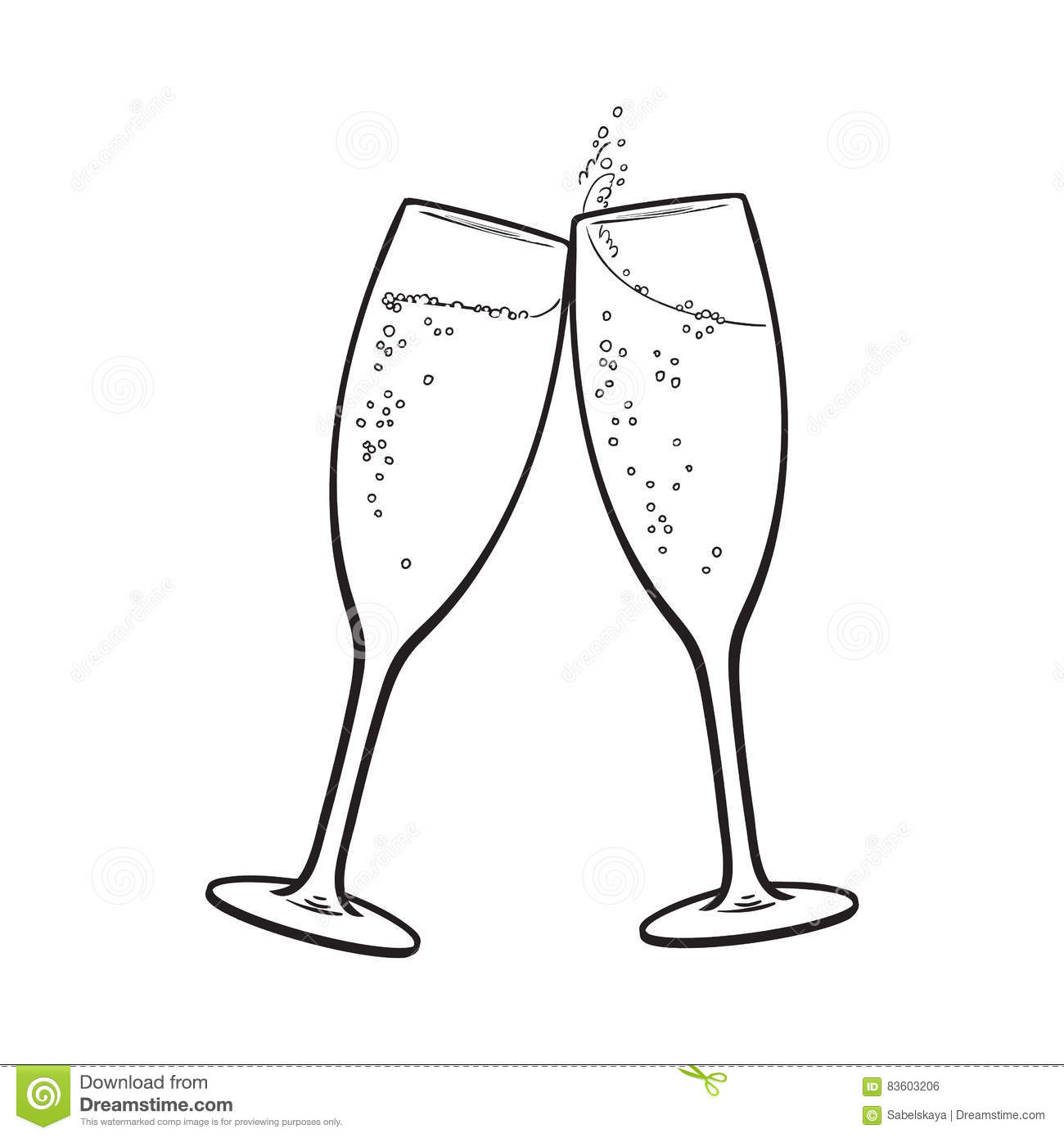 Pair Of Champagne Glasses Holiday Toast Stock Vector