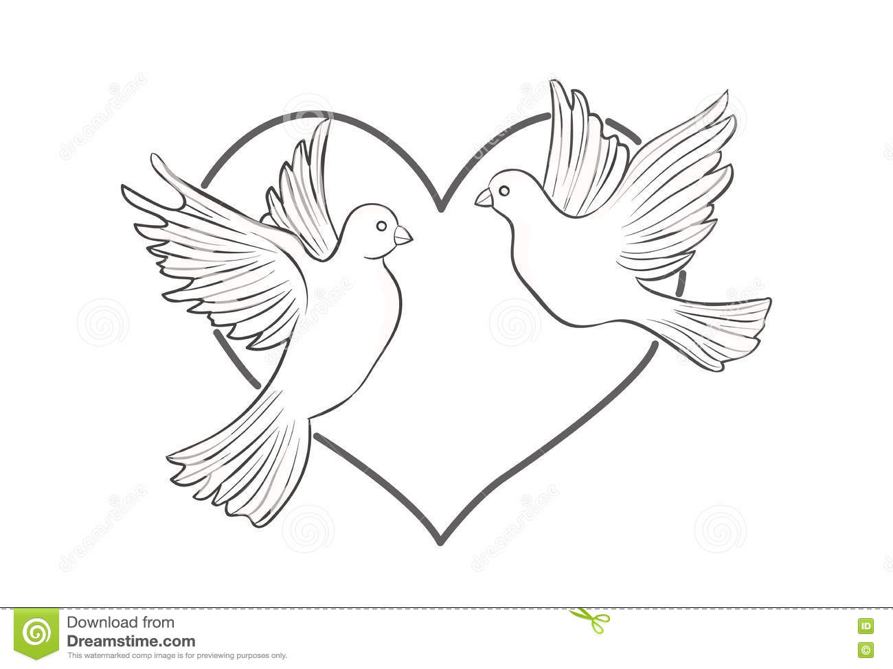 A Pair Of Doves On Heart Background Stock Vector