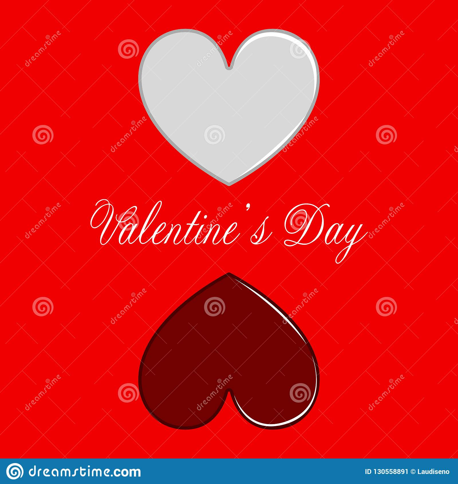 Pair Of Heart Shapes Valentine Day Stock Vector