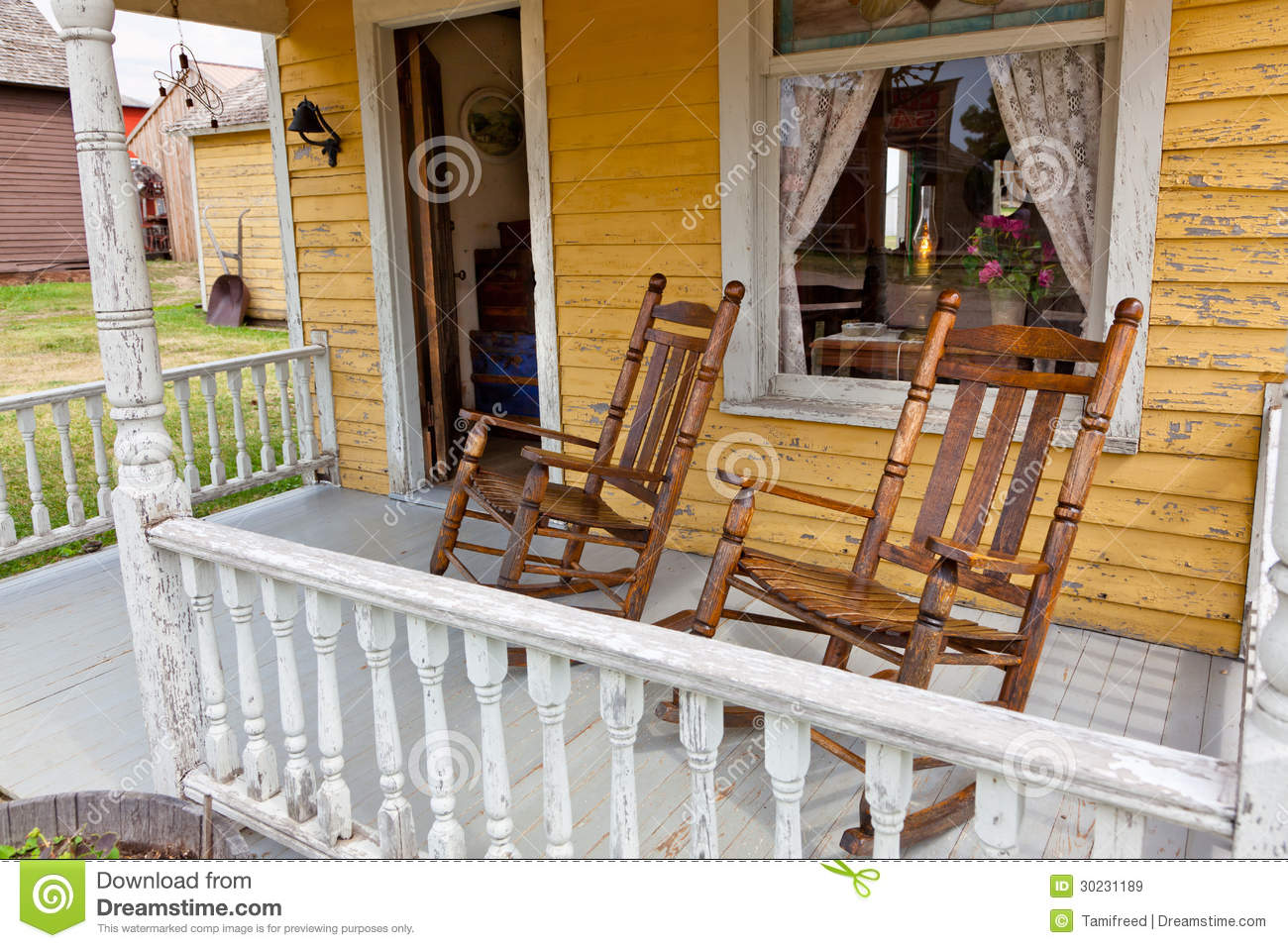 building a rocking chair wicker outdoor old chairs on porch royalty free stock images - image: 30231189