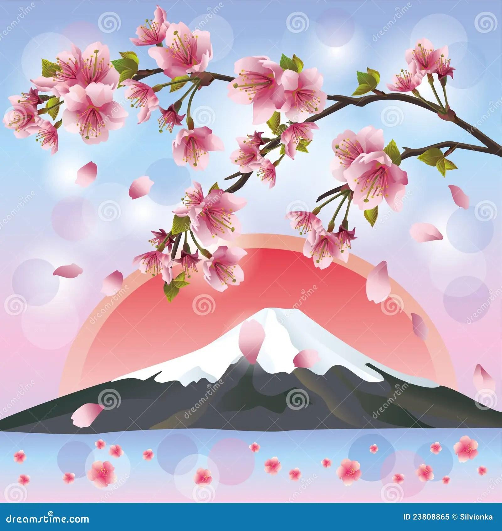 Paisagem Japonesa Com Montanha E Sakura Foto de Stock