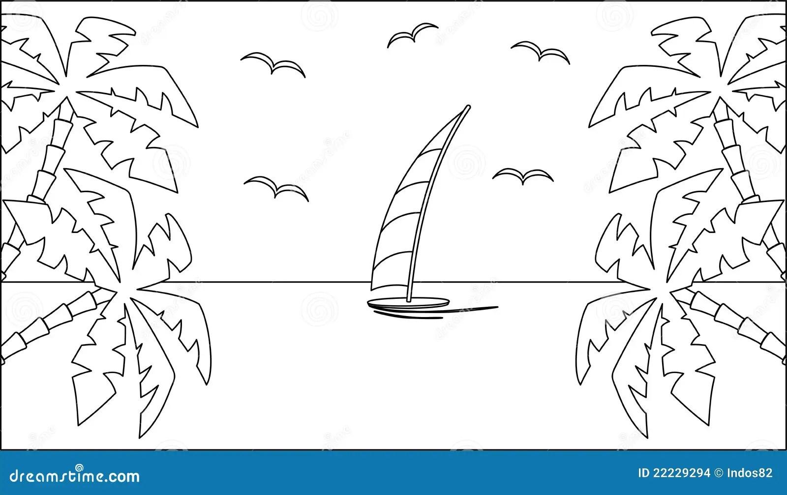 Paisagem Tropical Preto E Branco Ilustracao Do Vetor